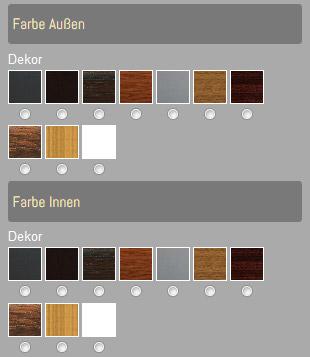 Produktkonfigurator für Fenster - Farben